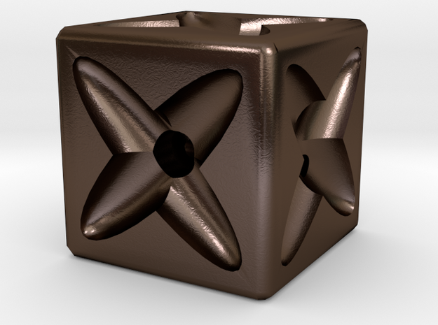Dice77 in Polished Bronze Steel