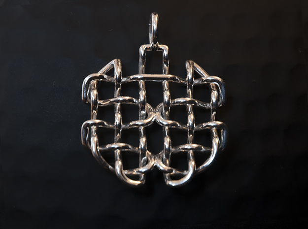 Woven pendant in Fine Detail Polished Silver