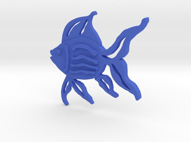 Fish Pendant in Blue Processed Versatile Plastic