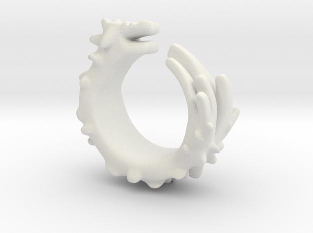 Dragon Ring  in White Natural Versatile Plastic