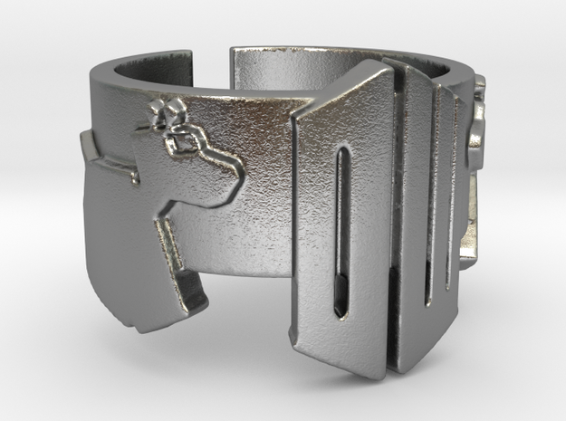 Doctor Who and K9 Ring - Size 8 in Raw Silver
