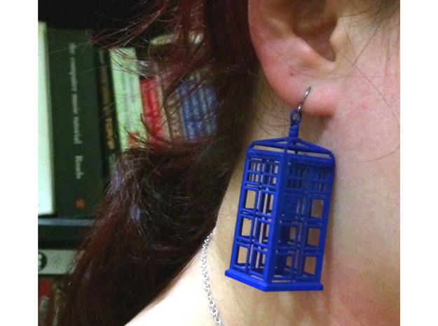 Police Box Statement Earrings in Blue Processed Versatile Plastic