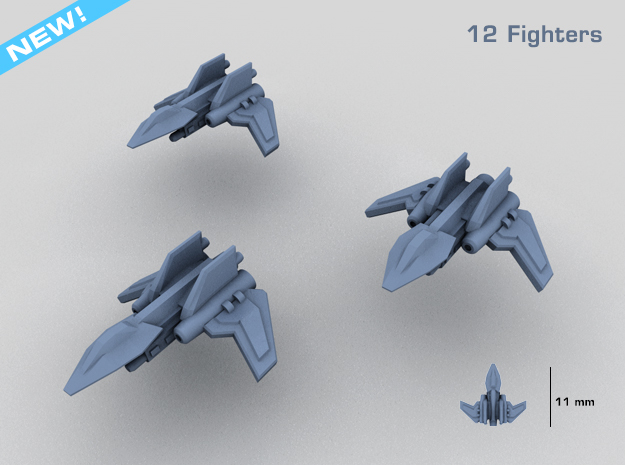 HOMEFLEET Interceptor Fighter Group - 12 Fighters in Smooth Fine Detail Plastic