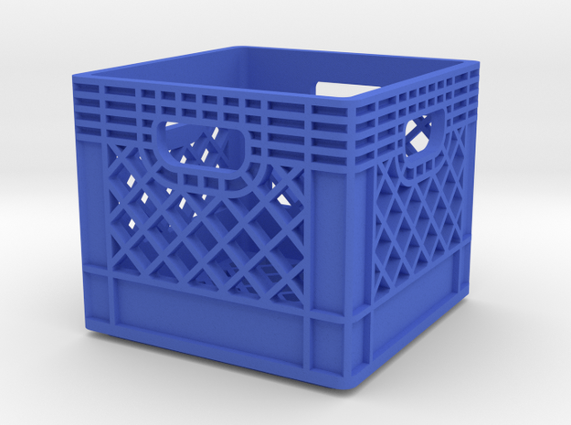 1/10 Scale Milk Crate in Blue Processed Versatile Plastic