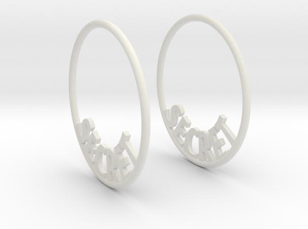 Custom Hoop Earrings - Secret 30mm in White Natural Versatile Plastic