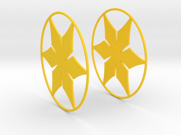 Flowerish 12 Big Hoop Earrings 60mm in Yellow Processed Versatile Plastic