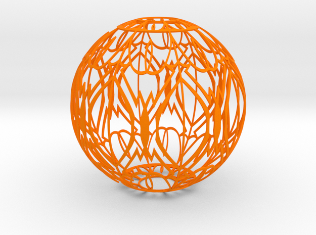 Lampshade(Designer Sphere 2) in Orange Strong & Flexible Polished