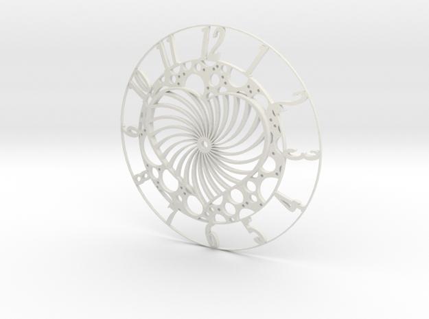 Bubble Heart Clock Face in White Natural Versatile Plastic