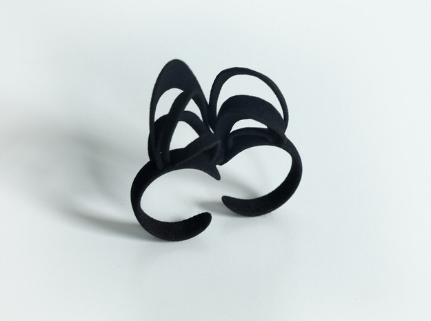 Ribbon Double Ring 8/9 3d printed Black