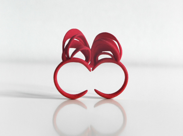 Ribbon Double Ring 6/7 3d printed Pink