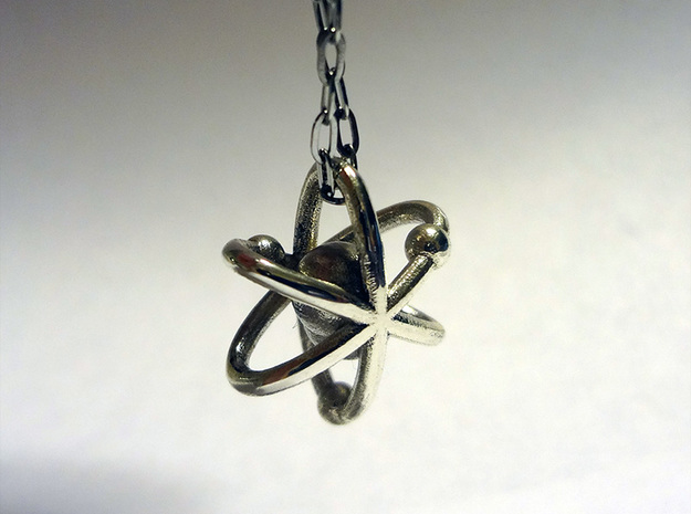 Atom pendant 1 3d printed Silver Glossy
