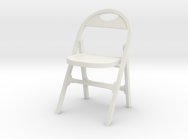 1:24 Vintage Folding Chair in White Natural Versatile Plastic