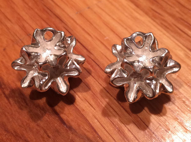 Imploded star earrings  in Polished Silver
