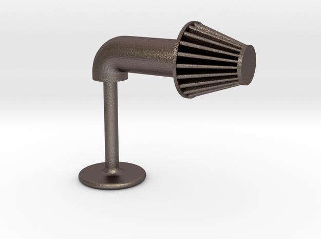 Aftermarket Intake Cufflink in Polished Bronzed Silver Steel