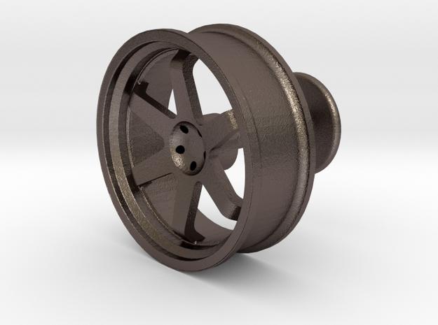 TE37 Wheel Cufflink in Polished Bronzed Silver Steel