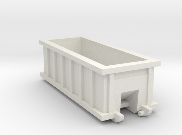N Scale 20 FT X 8FT  Roll-off Dumpster  in White Natural Versatile Plastic