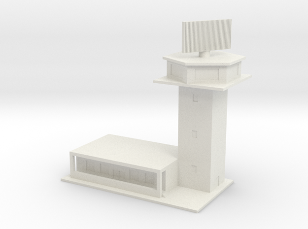 1/600 Control Tower And RADAR in White Natural Versatile Plastic