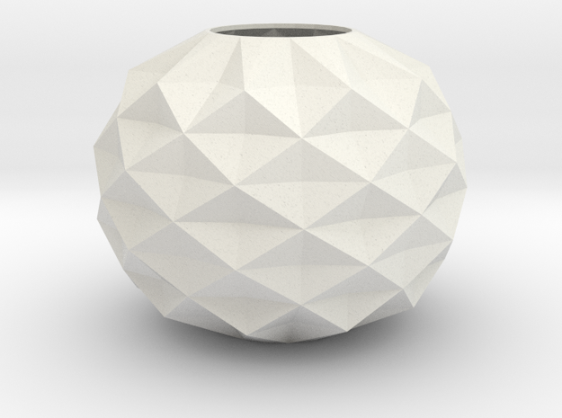 Stylish Faceted Designer Vase - 80mm Tall in White Strong & Flexible