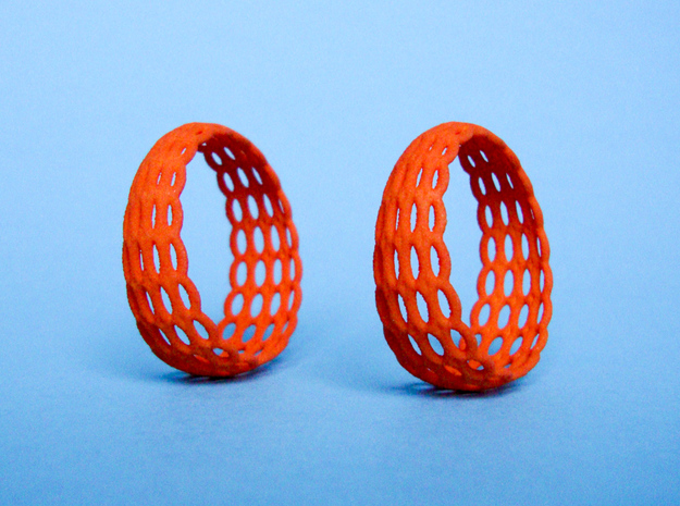 Wired Beauty 5 Hoop Earrings 30mm in Orange Processed Versatile Plastic