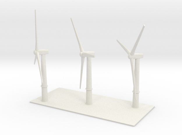 1/600 Wind Farm x3 Turbines in White Strong & Flexible