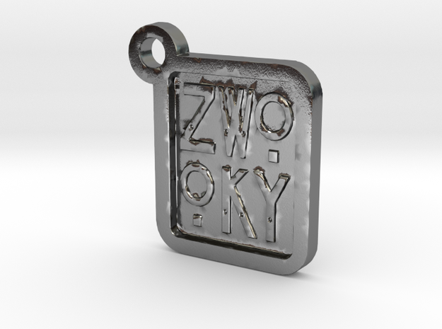 ZWOOKY Keyring LOGO 12 3cm 3mm in Polished Silver