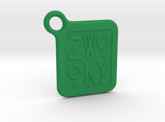 ZWOOKY Keyring LOGO 12 3cm 2mm rounded in Green Processed Versatile Plastic