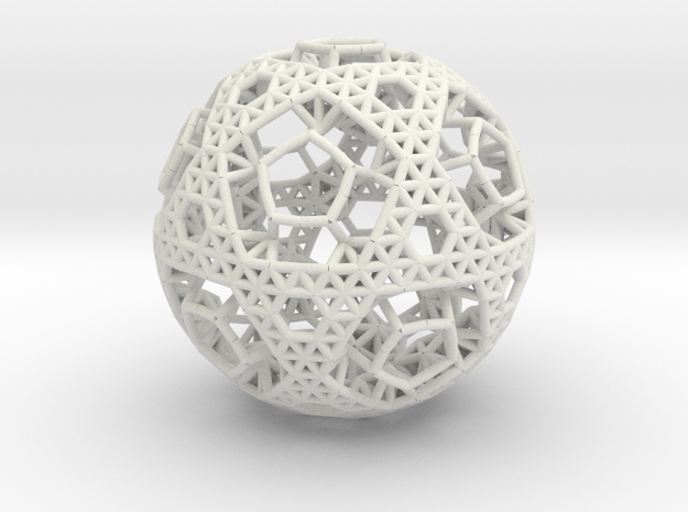Cell Sphere 2 - Bauble in White Natural Versatile Plastic