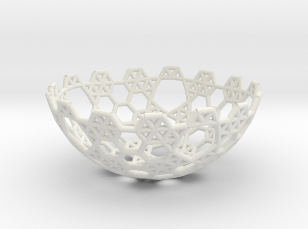 Cell Sphere 5 - Hex Bowl in White Strong & Flexible