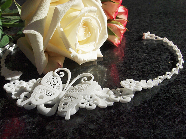Butterfly spring flower necklace 01