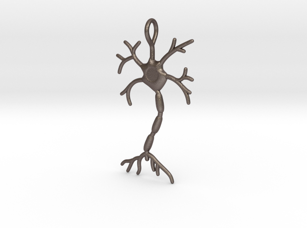 """Neuron Pendant (1.7"""" high) in Polished Bronzed Silver Steel"""