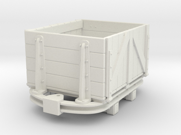 1:35 or small Gn15 skip based dropside wagon in White Natural Versatile Plastic