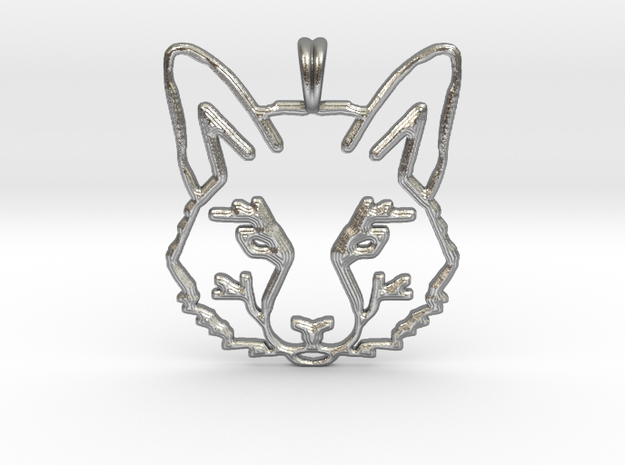 FOX TOTEM Designer Symbol Jewelry Pendant in Natural Silver