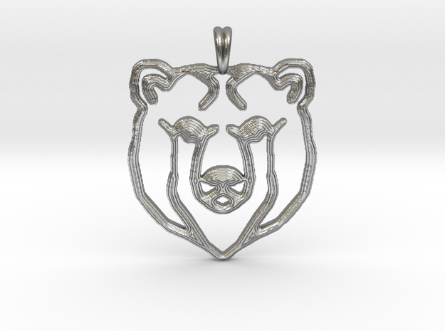 BEAR TOTEM Jewelry Designer Pendant in Natural Silver