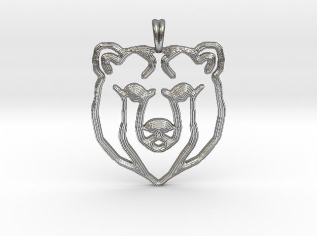 BEAR TOTEM Jewelry Designer Pendant in Natural Silver