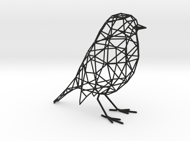 Bird wireframe in Black Natural Versatile Plastic