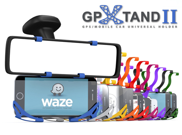 GPXtand II - Universal Mobile and GPS Car Holder in Blue Processed Versatile Plastic
