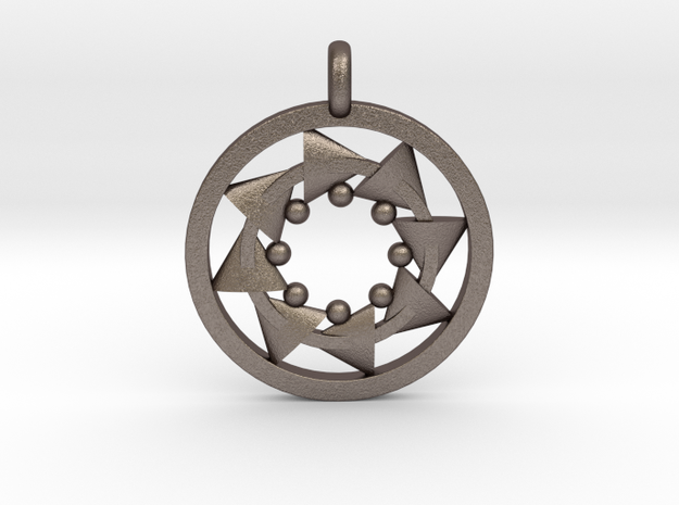CIRCULAR Motion Designer Jewelry Pendant in Polished Bronzed Silver Steel