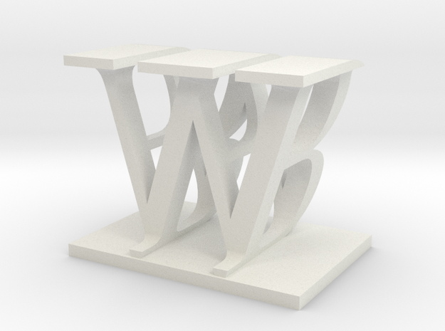 Two way letter / initial B&W in White Natural Versatile Plastic