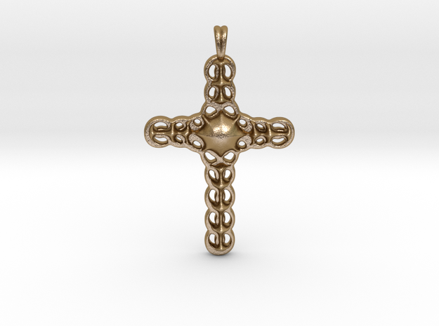 Design CROSS Jewelry Pendant in Silver | Gold  in Polished Gold Steel
