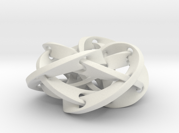 Knotted Torus Woven Together Smaller in White Natural Versatile Plastic