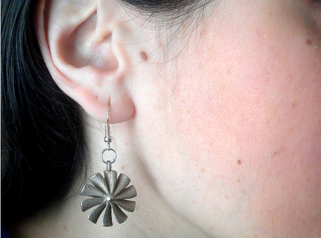 Turbine earrings in Polished Bronzed Silver Steel