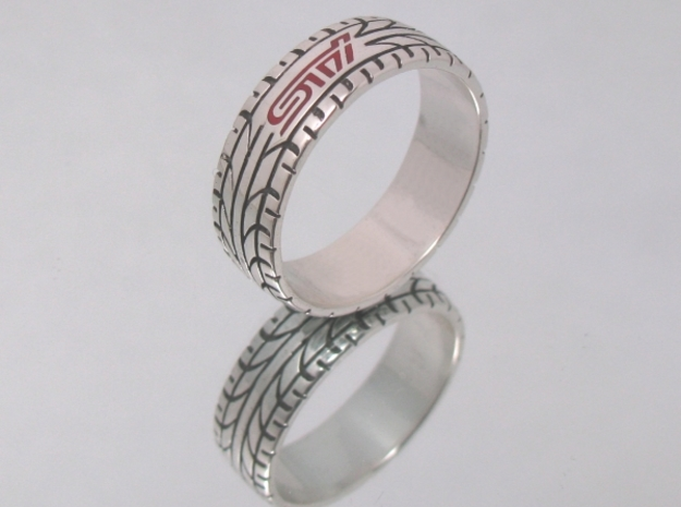 Subaru STI ring - 17 mm (US size 6 1/2) in Polished Silver