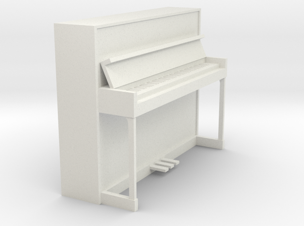 Miniature 1:24 Upright Piano in White Natural Versatile Plastic