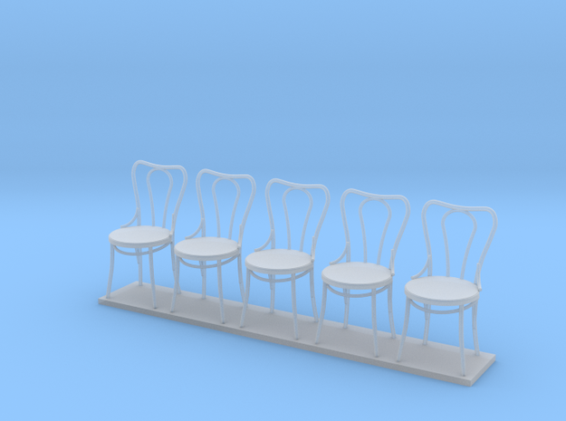 Miniature 1:24 Bentwood Camel Back Chairs (5) in Smooth Fine Detail Plastic
