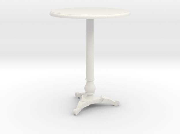 Miniature 1:24 Cafe Table in White Natural Versatile Plastic
