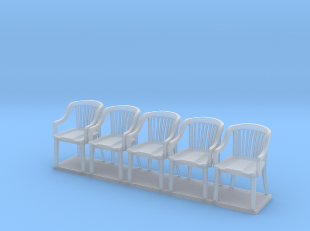 Miniature 1:48 Bankers Chairs (5) in Smooth Fine Detail Plastic