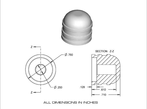 Dome style knob 3d printed