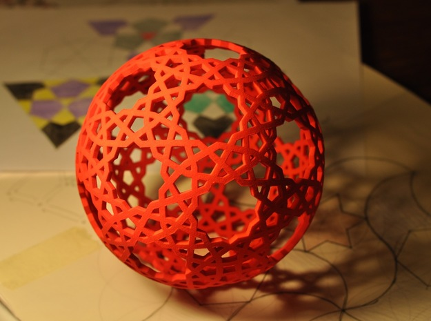 Islamic star ball with 11-pointed stars in Red Processed Versatile Plastic