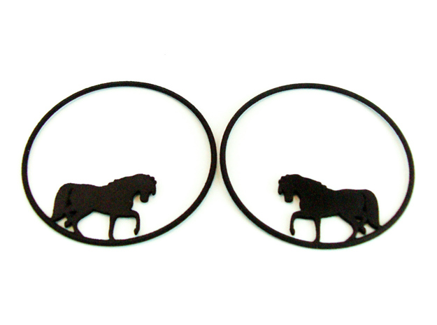 Horse Hoop Earrings 50mm in Black Natural Versatile Plastic
