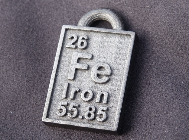 Iron Periodic Table Pendant in Polished and Bronzed Black Steel
